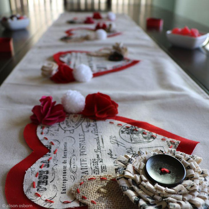DIY heart shaped fabric mats on Valentines table