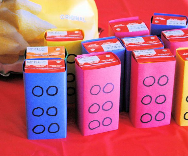 DIY Lego birthday table decorations using juice boxes