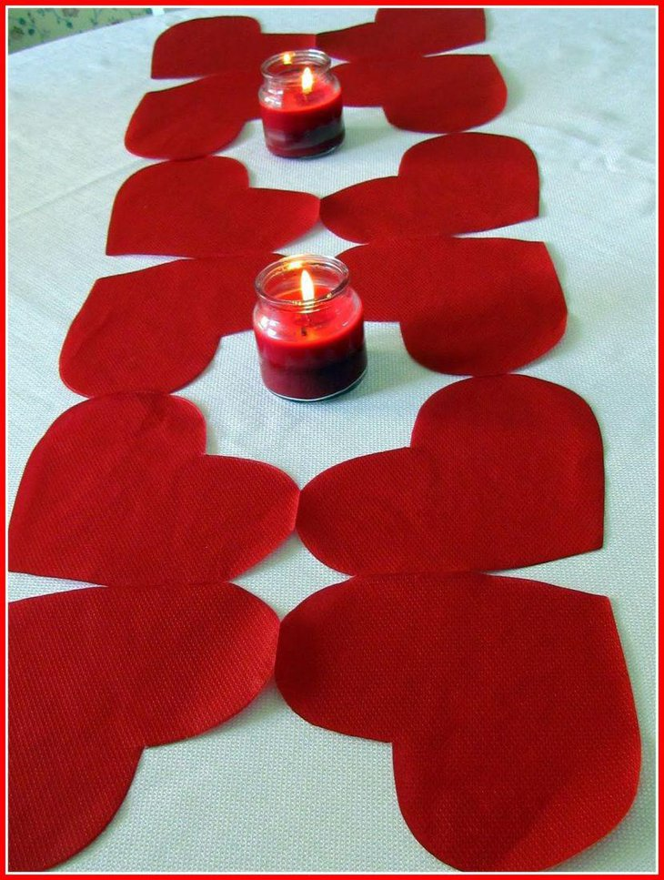 DIY mason jar candle holder decor on Valentines table