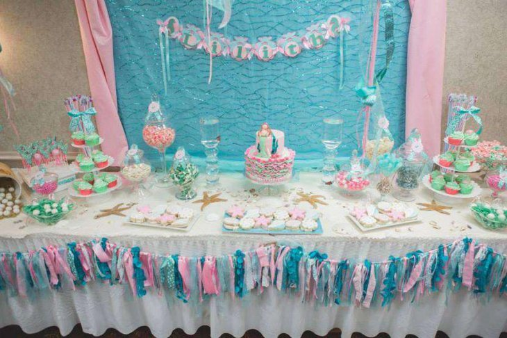 33 gorgeous mermaid baby shower ideas table decorating ideas. Black Bedroom Furniture Sets. Home Design Ideas