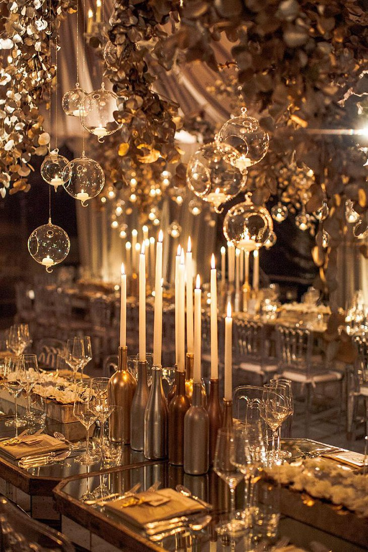 DIY New Year Golden Table Decoration with Candles and Extravagant Setting