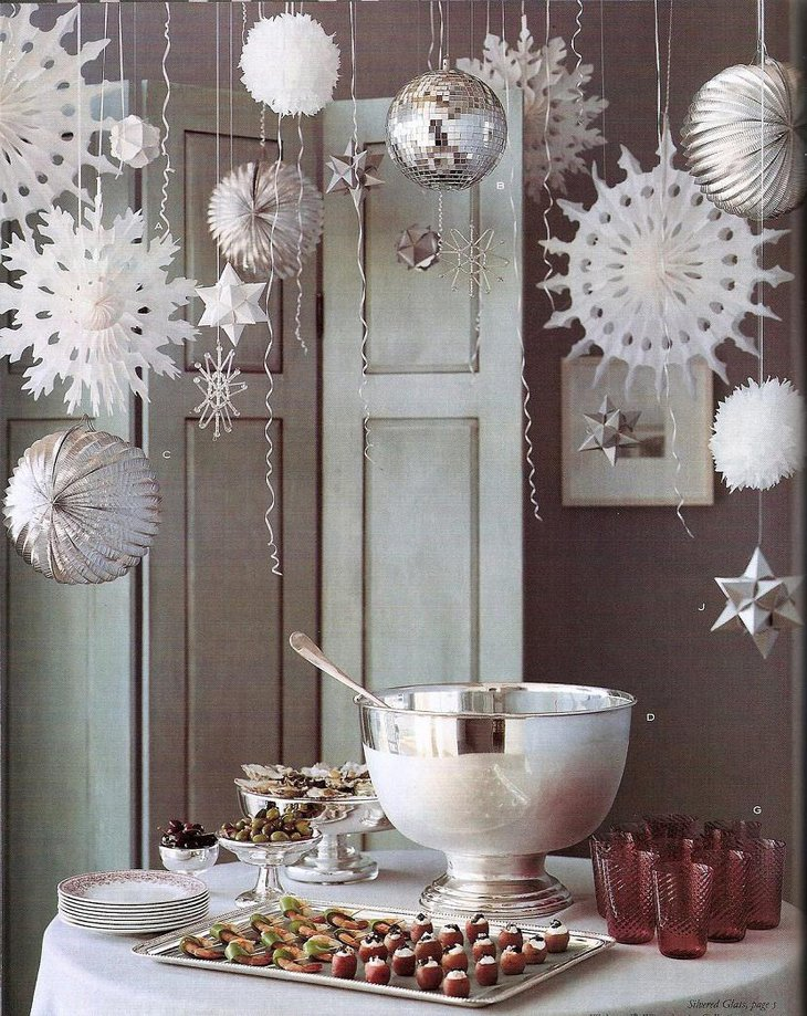 DIY New Year Silver Wonderland Table Decoration