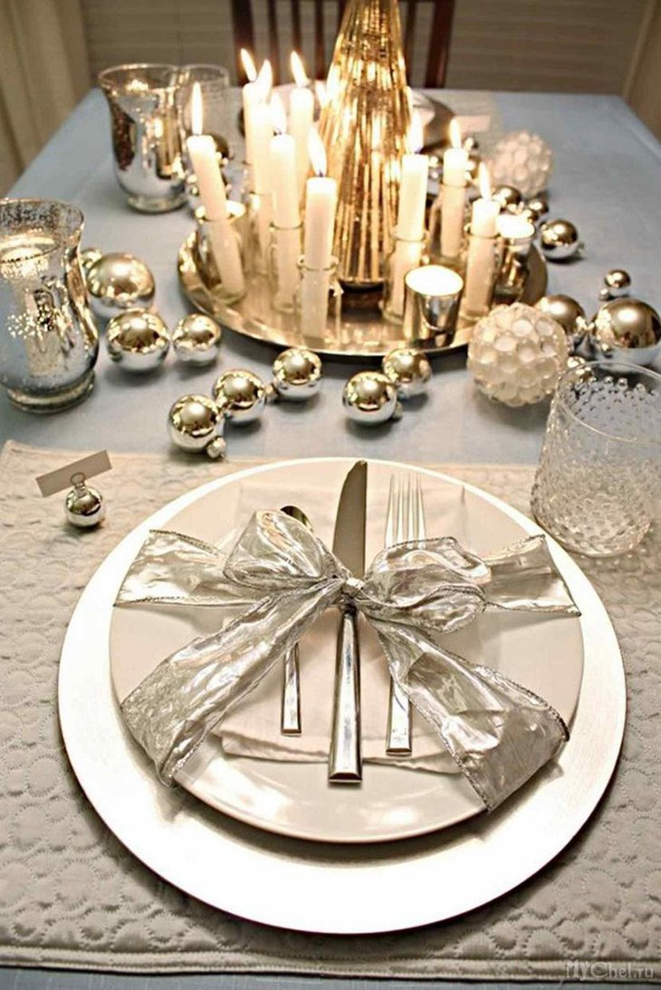 DIY New Year Table Decoration with Candles and Silverware