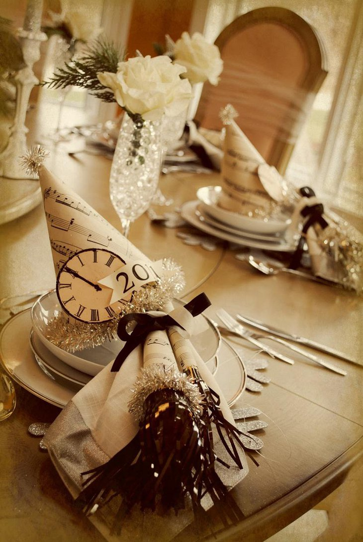 DIY New Year Table Decoration with Clock Hats and White Flowers