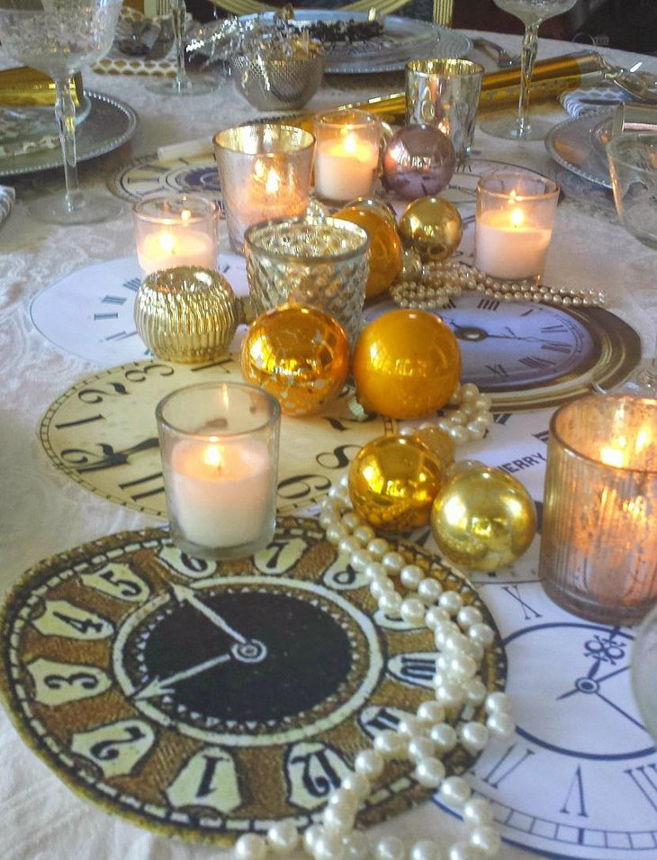 DIY New Year Table Decoration with Clocks Pearls and Candles