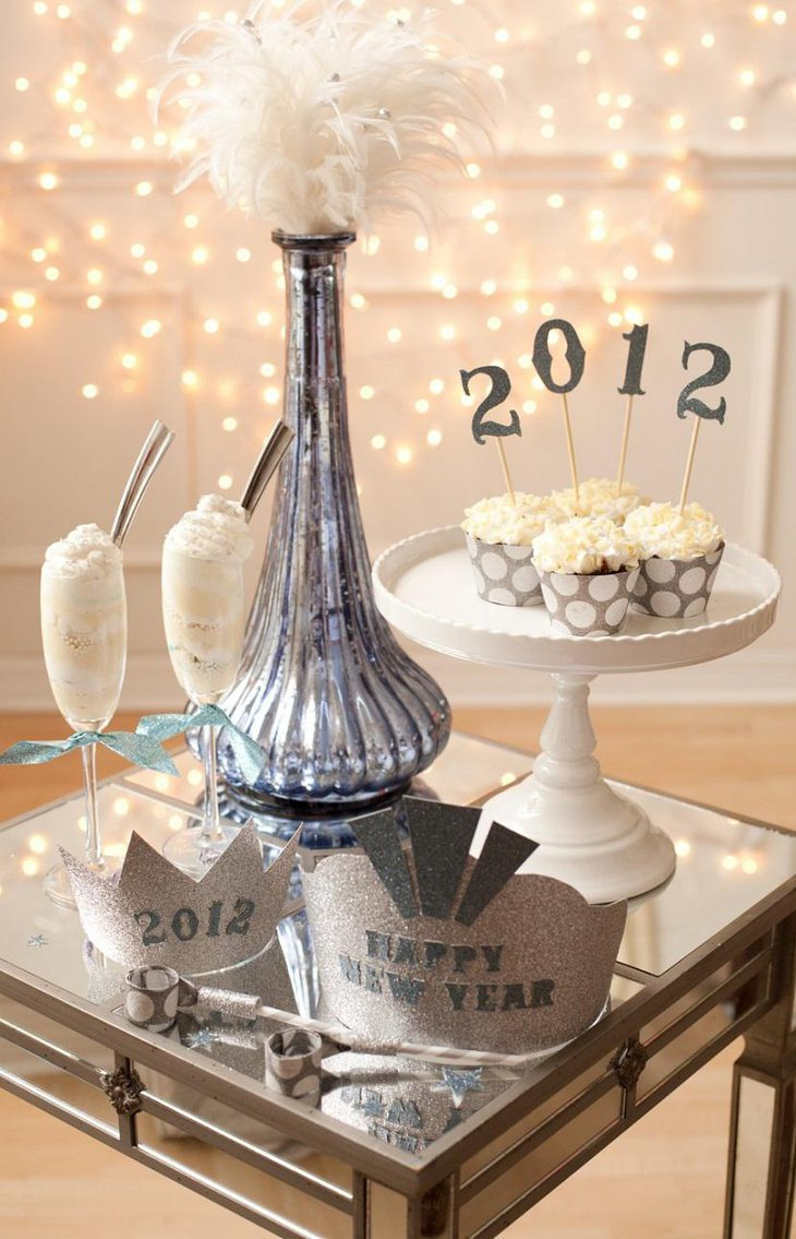 DIY New Year Table Decoration with Hats and Desert