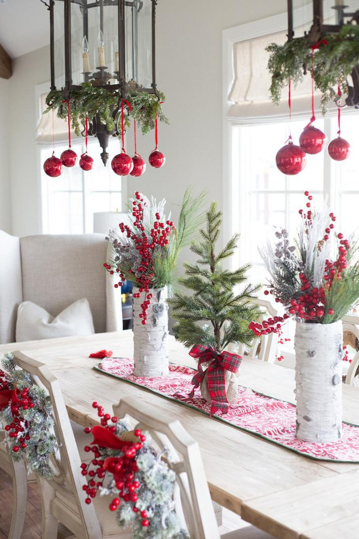 DIY New Year Table Decoration with Little Green Trees and Red Balls 1