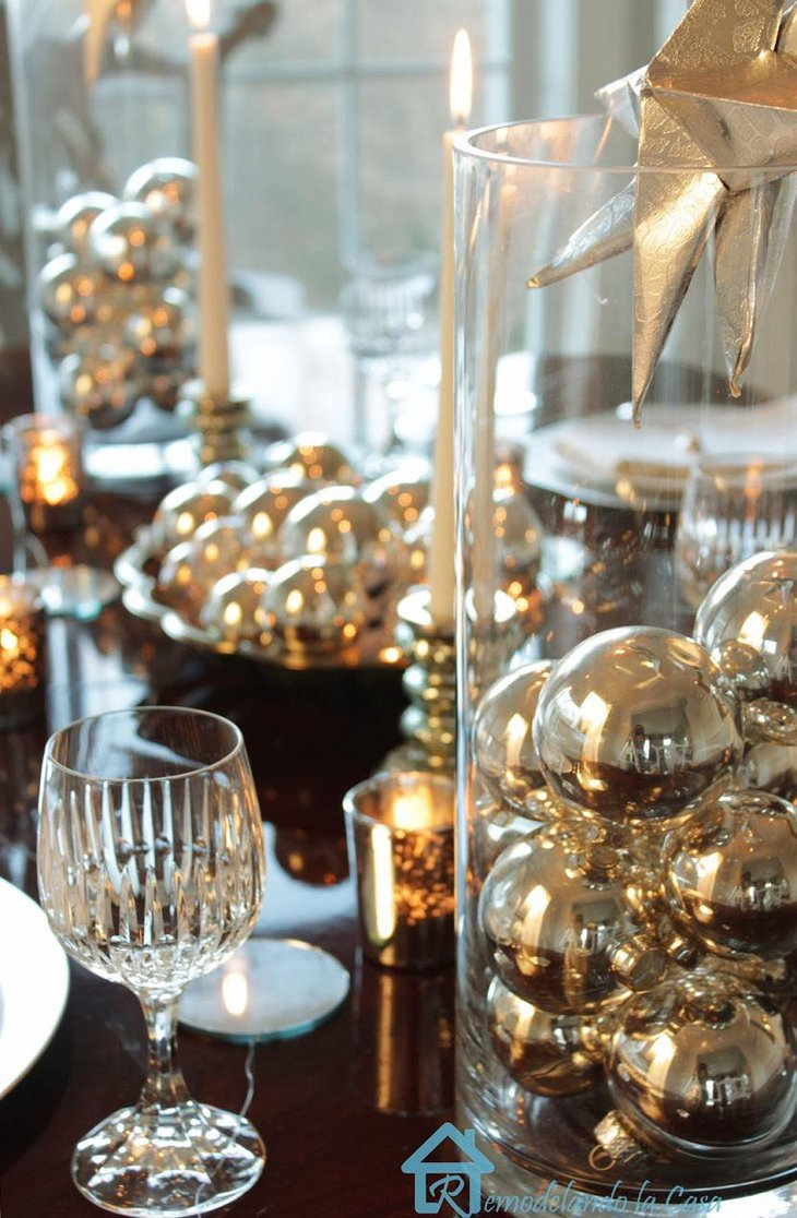 DIY New Year Table Decoration with Silver Balls and Candles