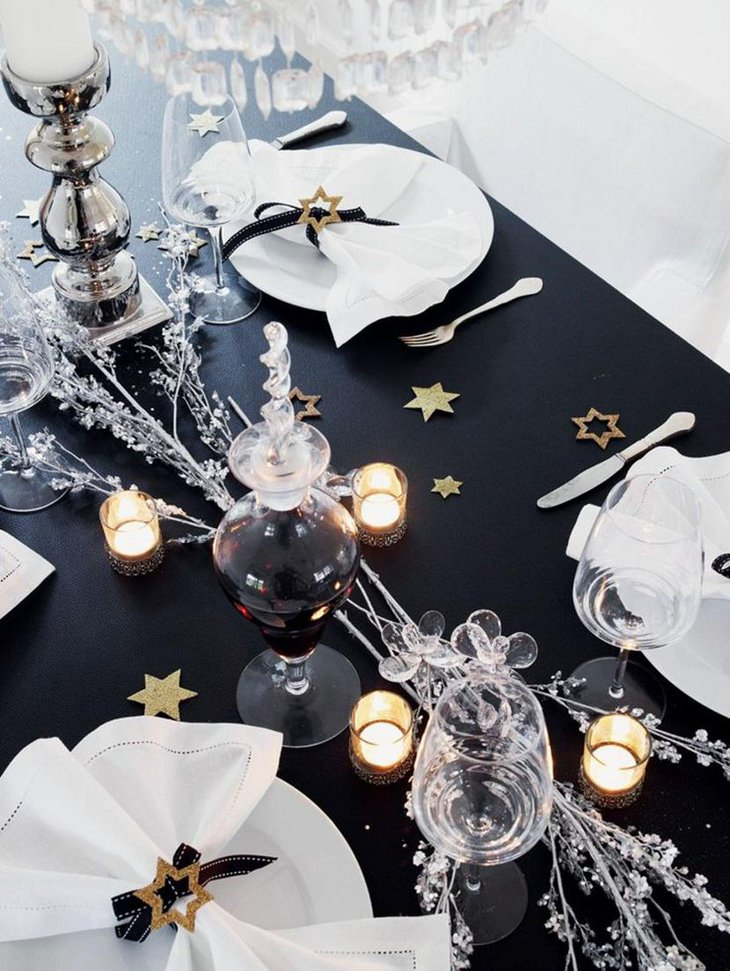 DIY New Year Table Decoration with White Candles and Black Setting