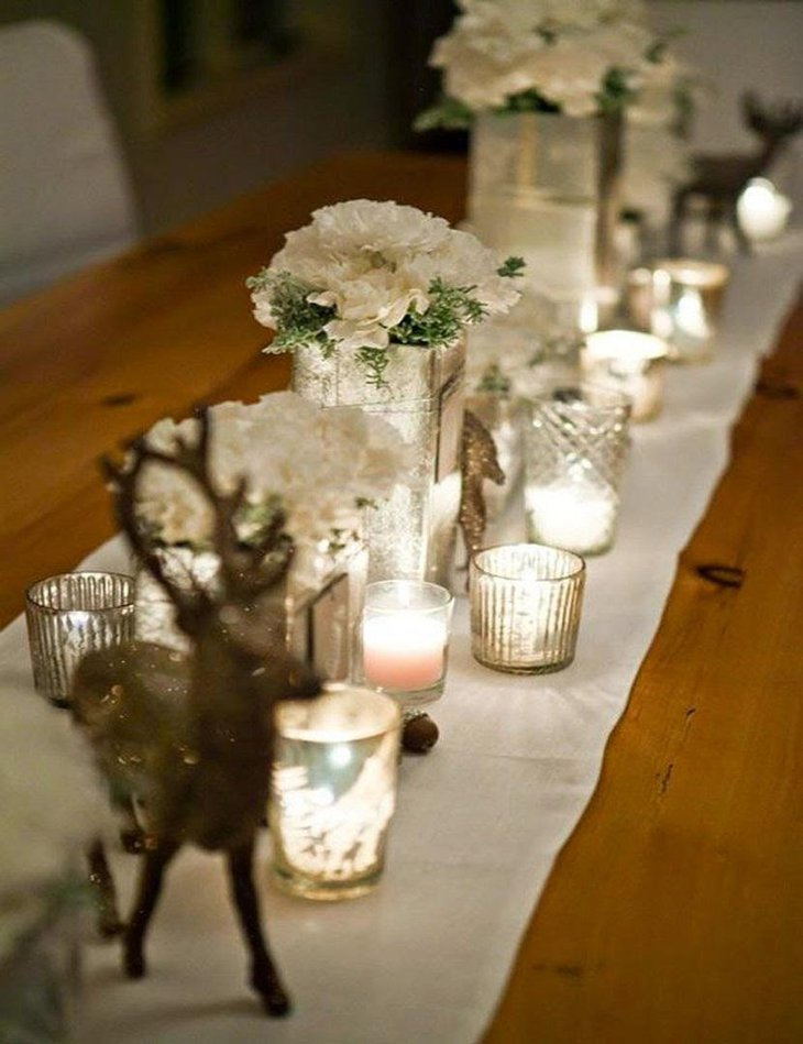 DIY New Year Table Decoration with White Flowers and Candles