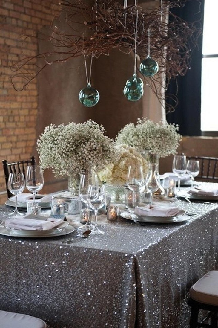 DIY New Year Table Decoration with White Flowers and Hanging Balls