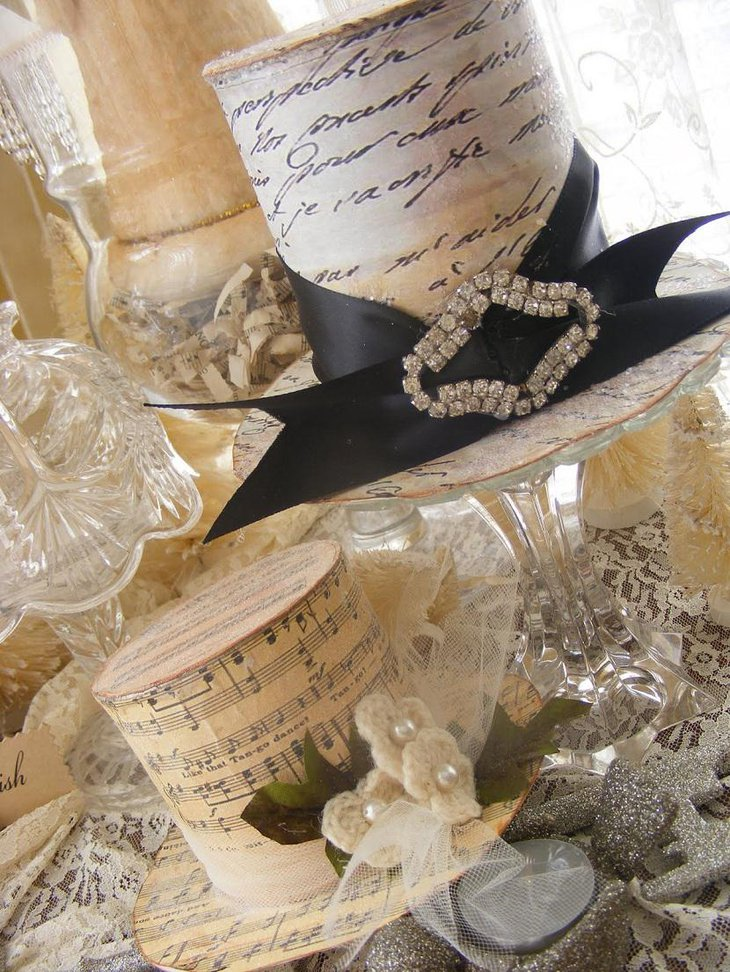 DIY New Year Table Decoration with White Hats and Crystals