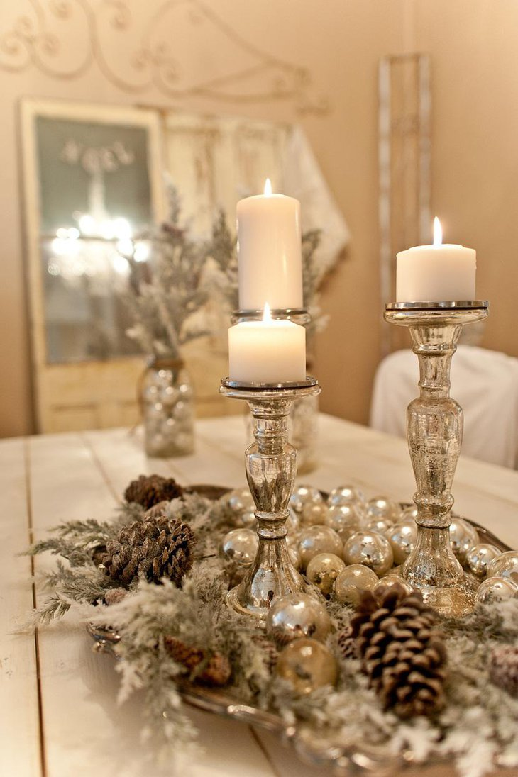 DIY New Year Table Decoration with White Pearls and Candles