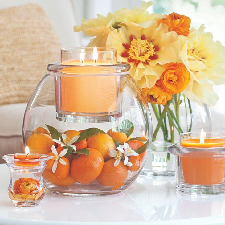 DIY Orange And Candle Spring Table Centerpiece