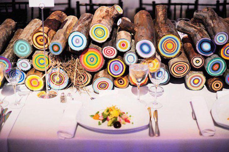 DIY Painted Logs as Wedding Table Centerpiece