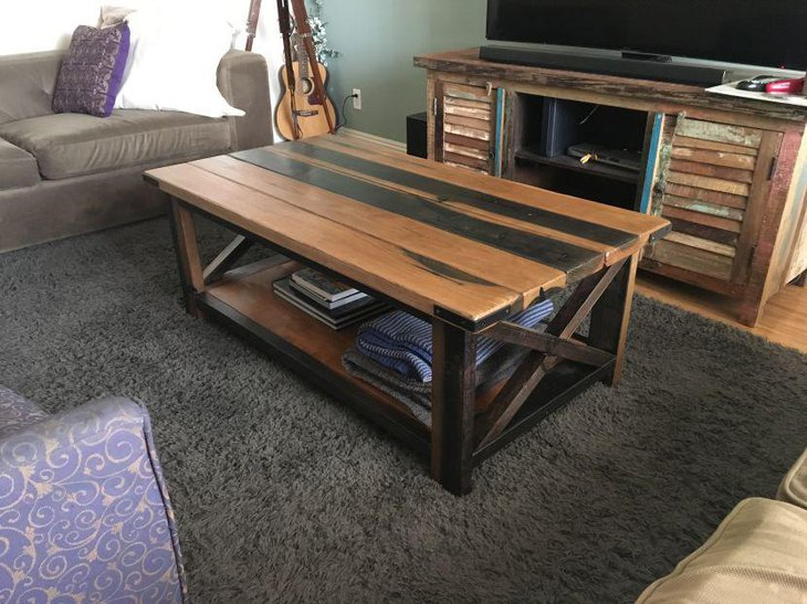 DIY rustic coffee table in light and dark tones