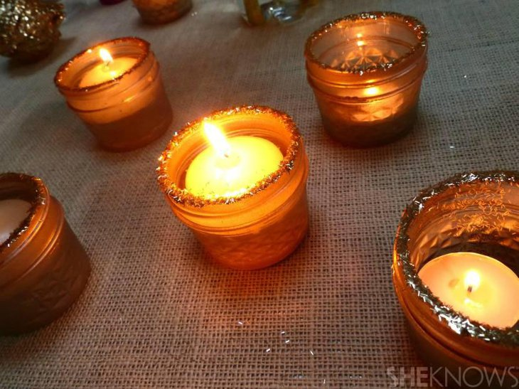 DIY Sparkling Mason Jar Candle Holders
