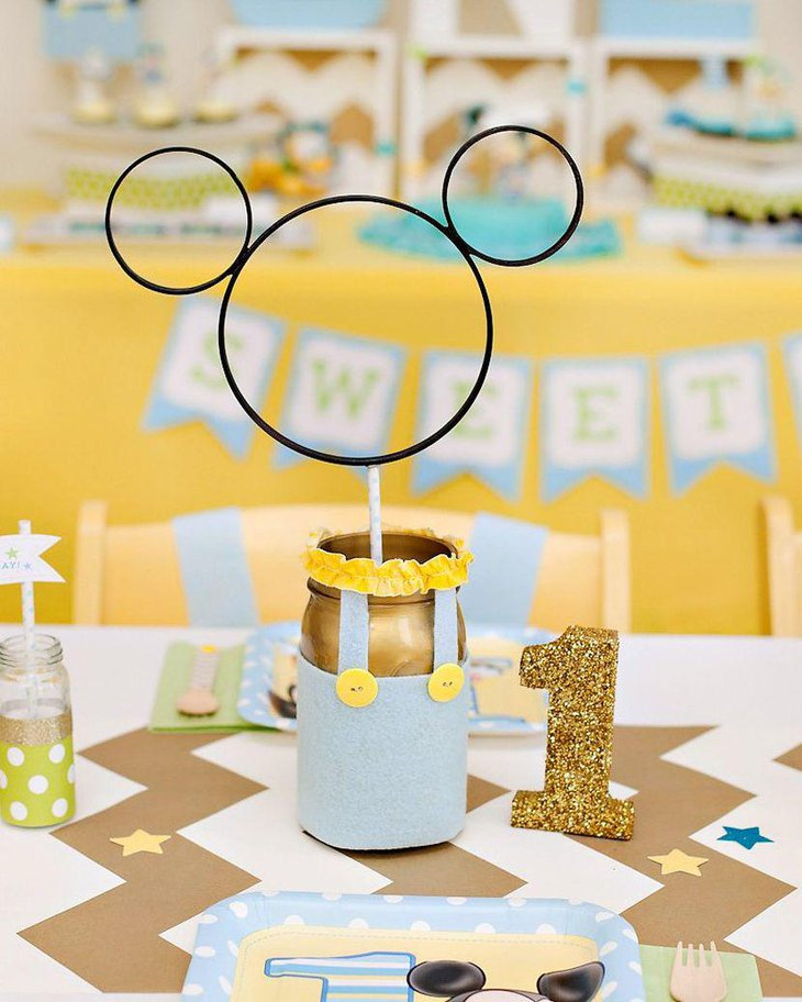 DIY summer birthday tablescape with buttons and jars