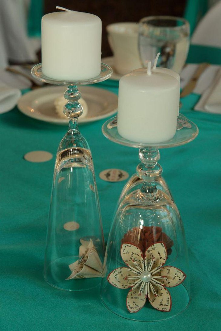 35 diy wedding centerpieces table decorating ideas for Centerpieces made with wine glasses