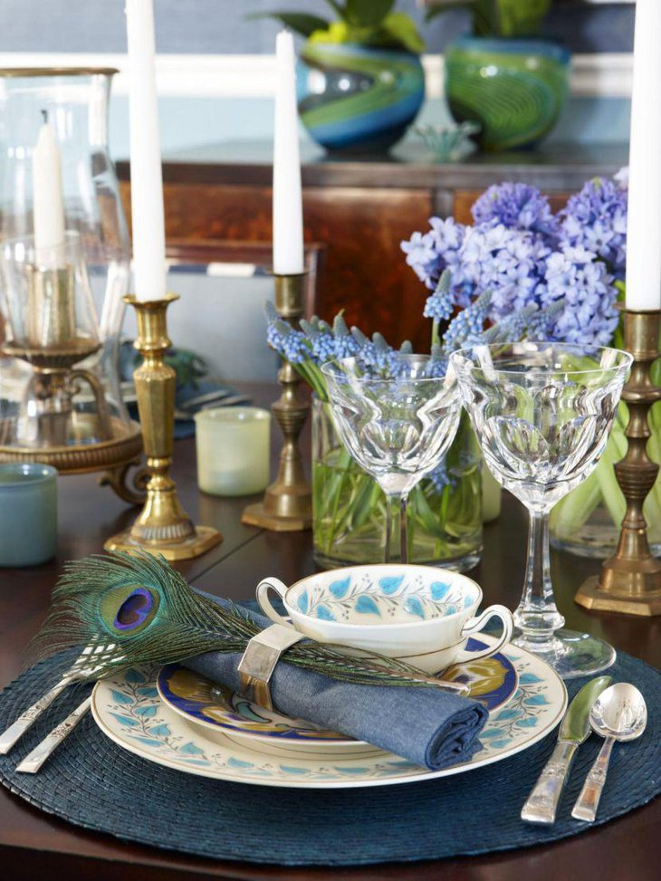Dramatic Thanksgiving table decoration with Brass candlesticks and vintage China