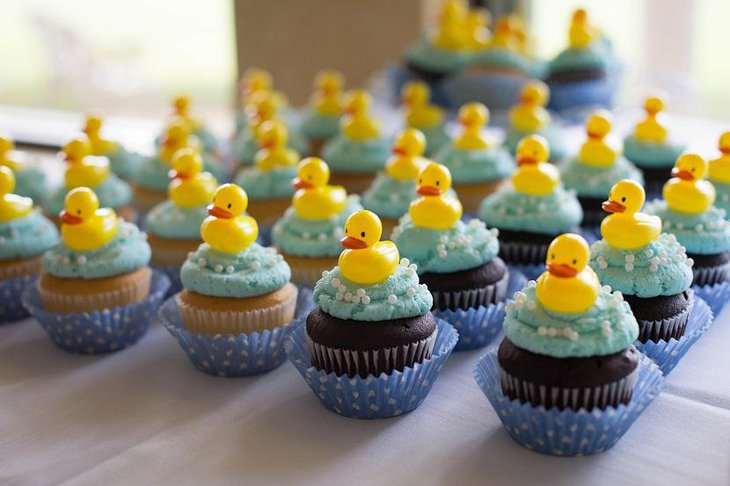 Ducky Cup Cakes Spring Baby Shower Idea for Boys