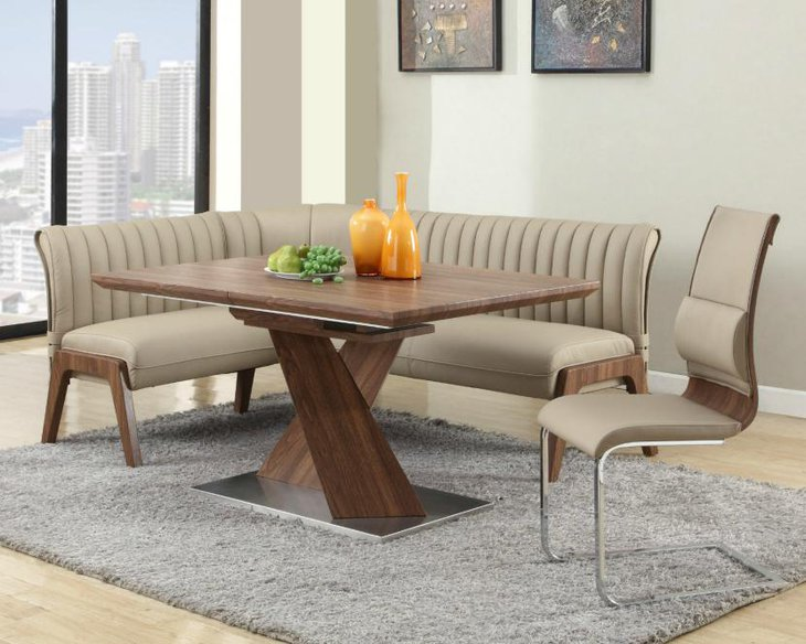 Earthy shade high back sofa and chair with wooden table for a formal looking breakfast nook
