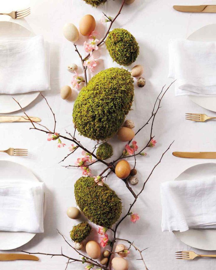 Easter spring moss egg table decor