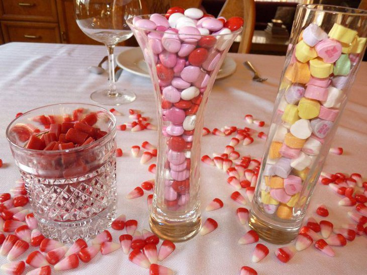 Easy Valentines table decor with candy in vases