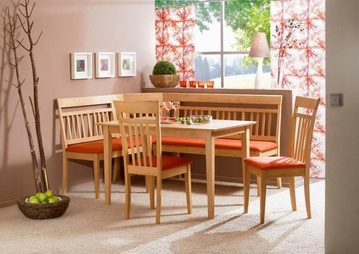 Eco Friendly Design Of Breakfast Nooks With Wooden Chairs And Wooden Table