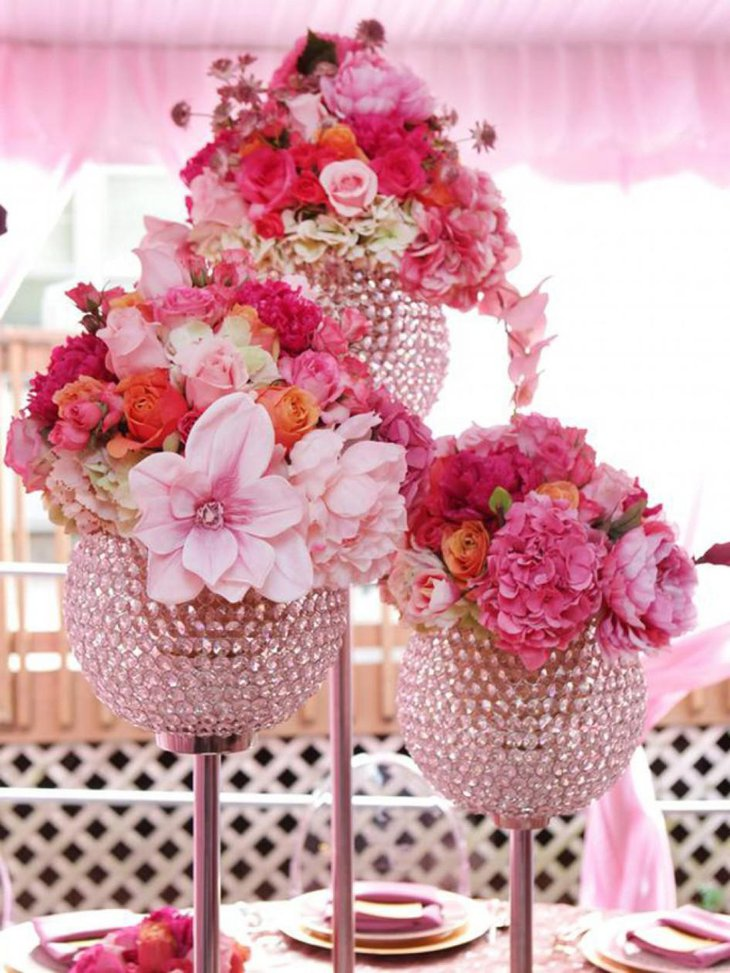 Elaborate Centerpiece with Cyrstal and Flowers