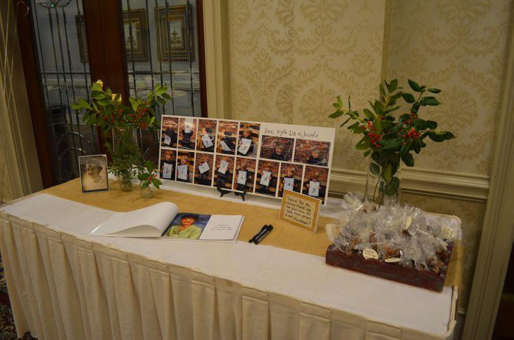 Elegant 80th Birthday Guest Table Decor With Picture Frame And Plants