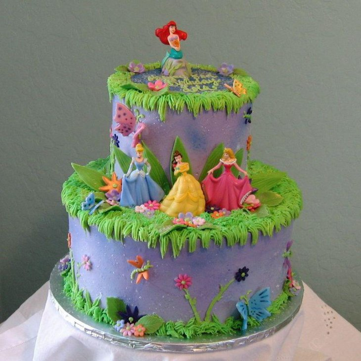 Elegant Disney Princess themed birthday cake for girls