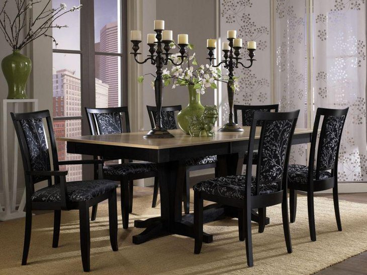 Elegant Rectangle Shaped Granite Top Dining Table Set