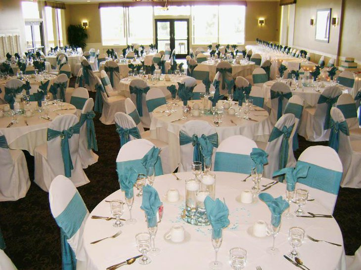 Elegant Turquoise Bridal Shower Table Setup