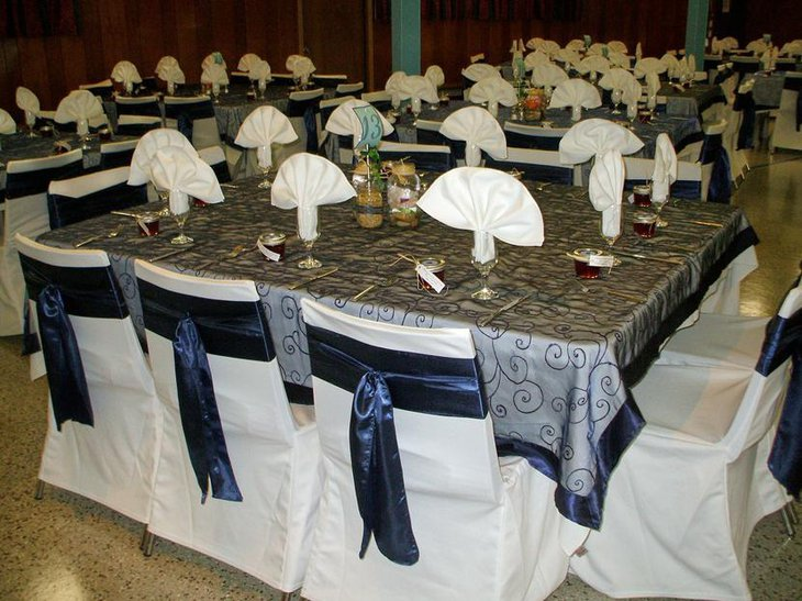 Embroidered Table Linen with Swirls for Weddings