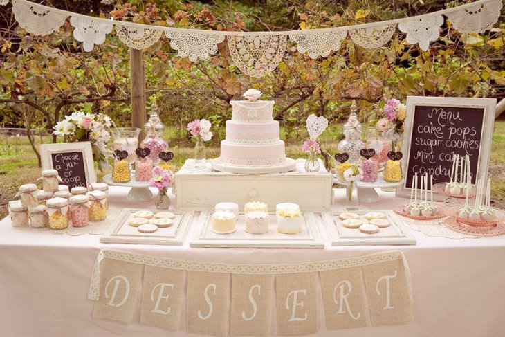 European dessert table decor in white and pastels
