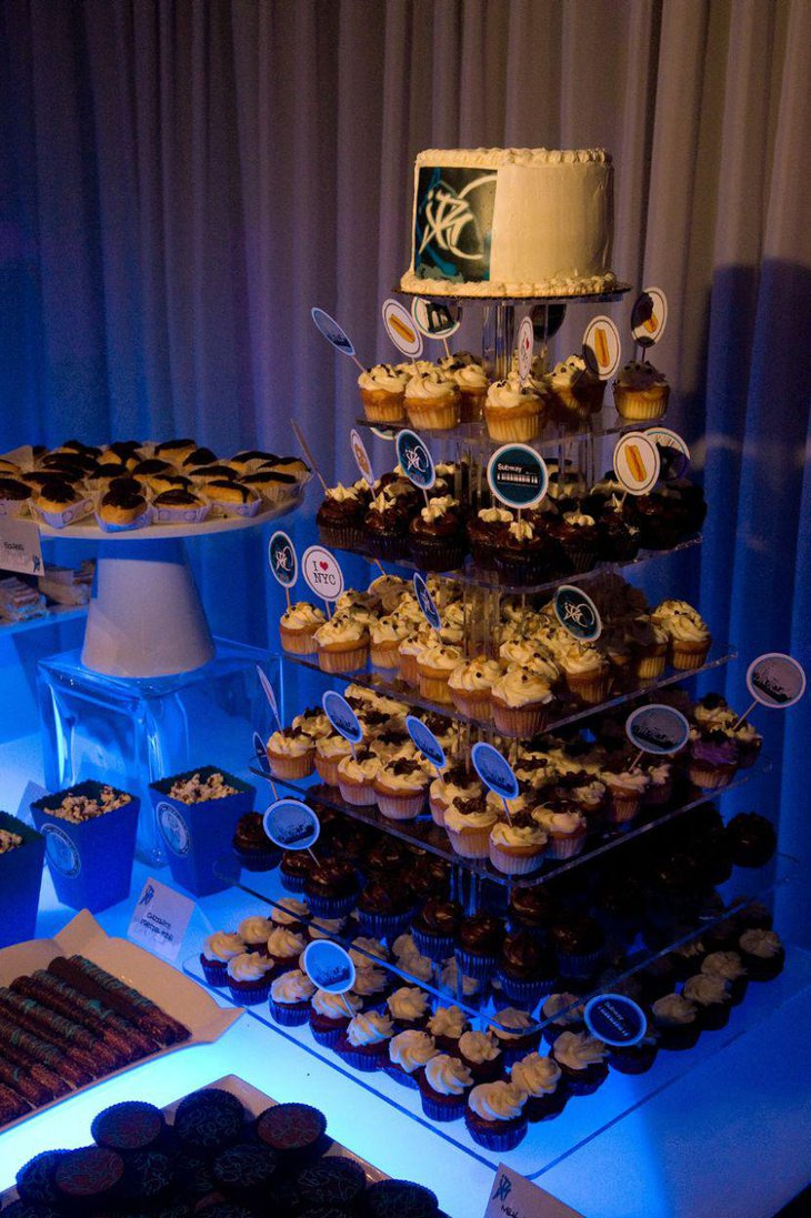 European dessert table filled with stuffed cupcakes on tiers