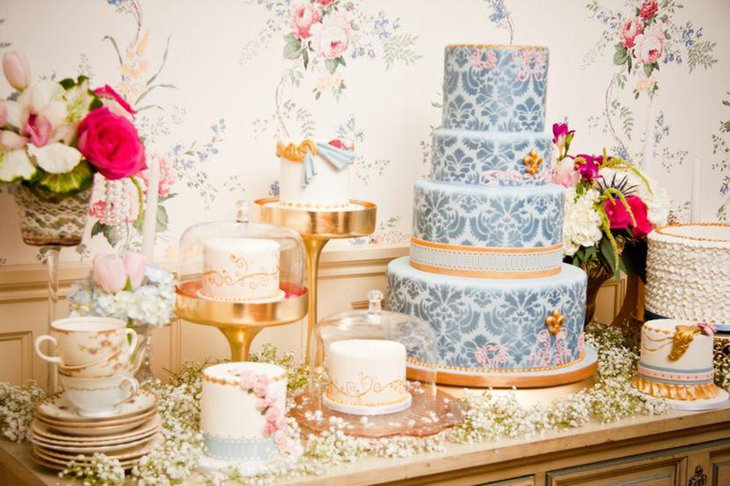 European dessert table with Damask and floral accents