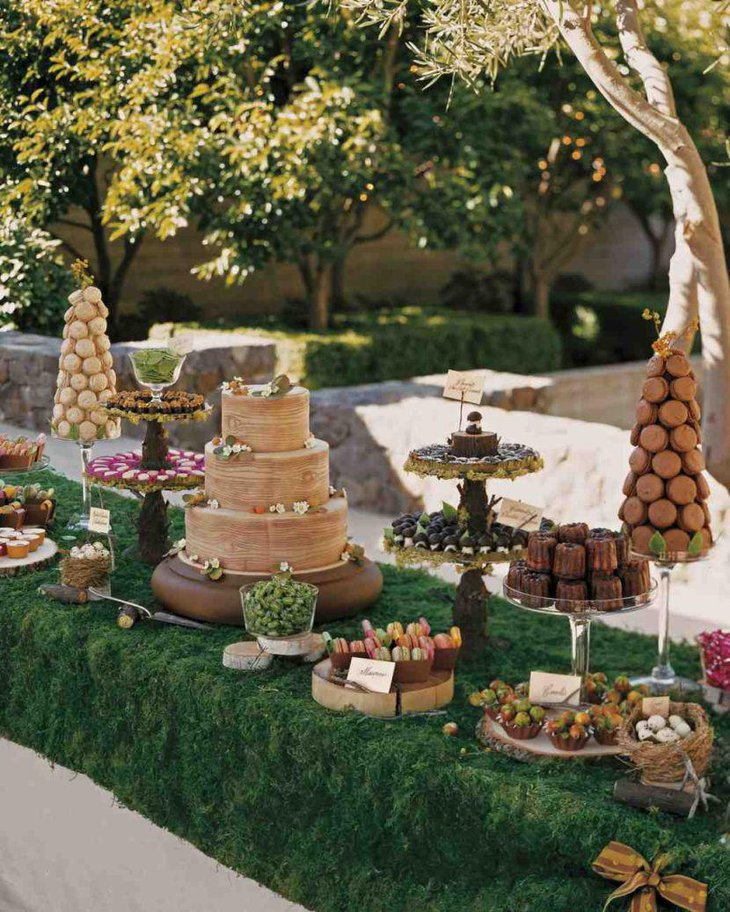 European styled dessert table decor with cakes and donuts