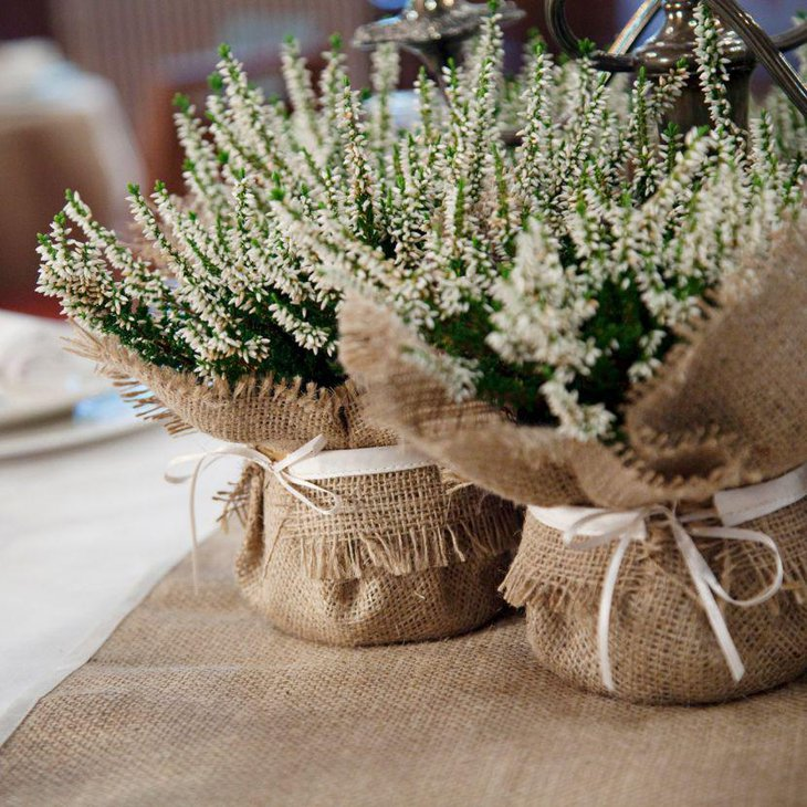 Exotic burlap plant wrap decor on a country wedding table