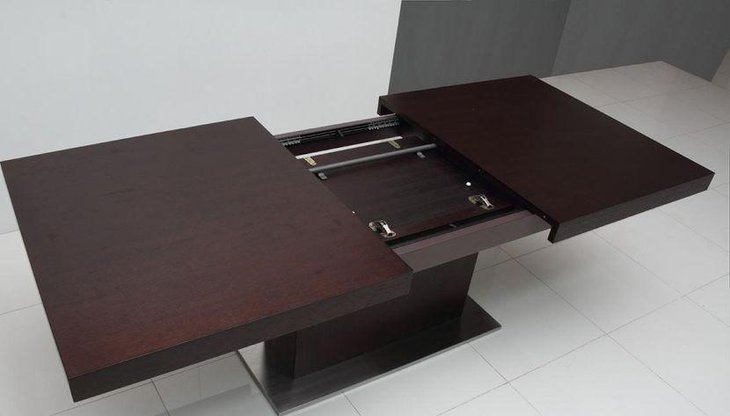 Expandable Dining Table For Small Spaces With Brown Finished Walnut Wood