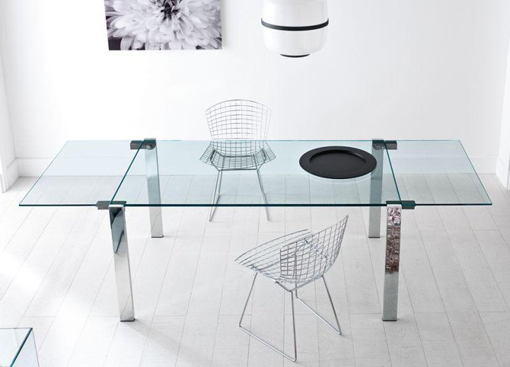 Expanding Glass Top Dining Table With Stainless Steel Legs