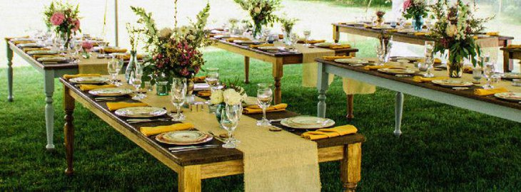 Exposed Table With Beautiful Runners for outdoor wedding venues