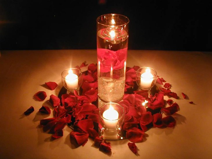 Eye catching Rose and Candles Centerpiece 1