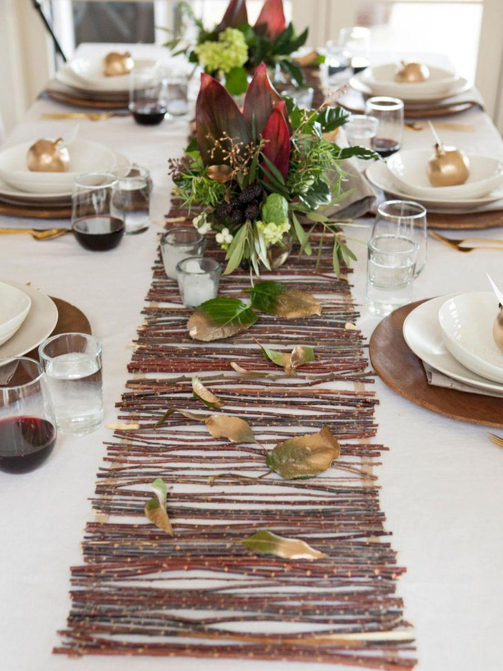 Fall themed twig design Thanksgiving table runner