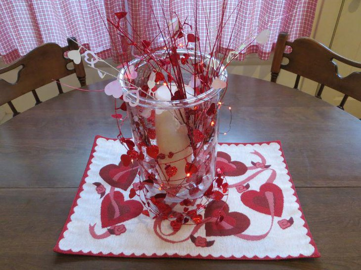 Fancy DIY vase decor on Valentines table