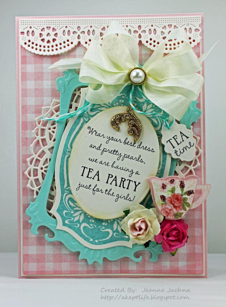 Fancy tea party invitation with pearls and flowers