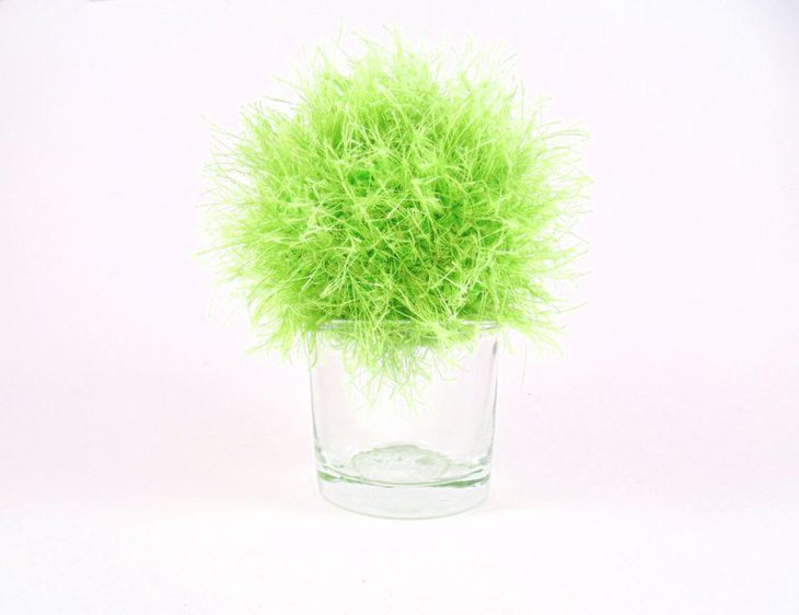 Faux grass ball crochet spring vase table centerpiece