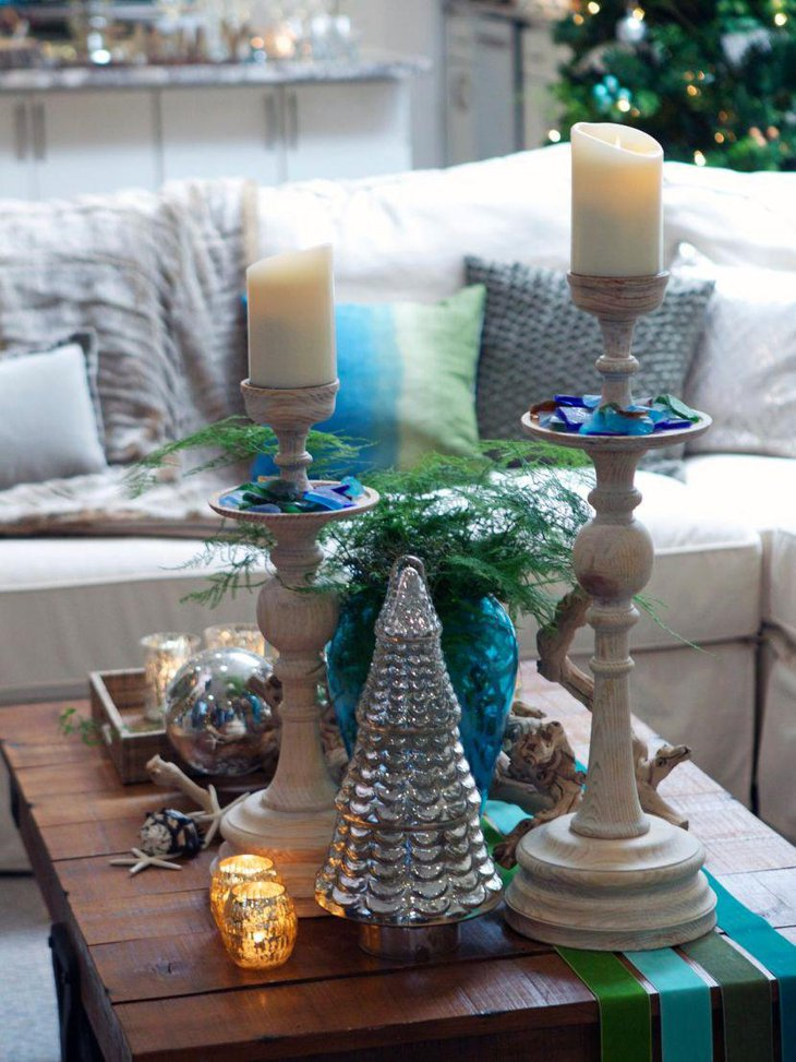 Festive coffee table decor with candlesticks