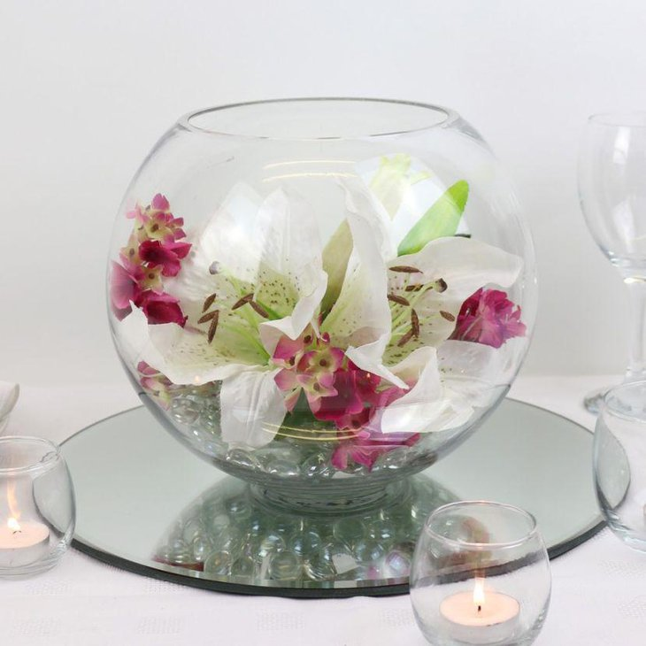 Fishbowl Lily Wedding Table Centerpiece